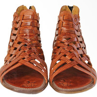 Women's Rust Brown Huaraches Sandals Genuine Leather High Ankle Zipper