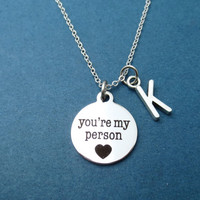 Initial, You're my person, You'r my person necklace, Grey's Anatomy, Gift, Silver, Necklace, Jewelry