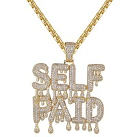 Self Paid Iced Out 14k Gold Finish Designer Drip Pendant Necklace