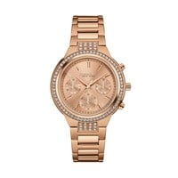 Caravelle New York by Bulova Women's Rose Gold Tone Stainless Steel Chronograph Watch (Pink)