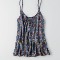 AEO Lace Up Peplum Cami , Navy
