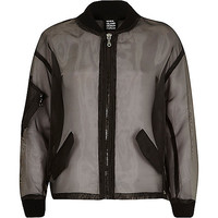 River Island Womens Black Design Forum organza bomber jacket