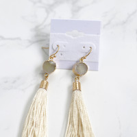 Beatrice Tassel Earring, Cream