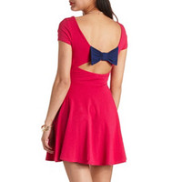 CUT-OUT BOW-BACK SKATER DRESS