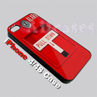 Red Fire Alarm Pull Down iPhone 4 Case or iphone 4S Case