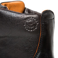BLACK LETAHER HIGH-LACED BOOTS NERO