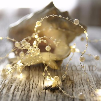 Battery Operated 20 LEDs Pearl string Garland lights Pearlized Fairy Lights for Mother's Day Wedding Home Christmas Deco