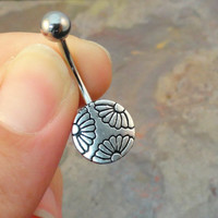 Silver Daisy Sunflower Belly Button Ring