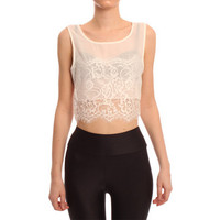Hearts & Bows White Delray Lace Cropped Top