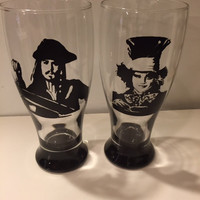 Mad Hatter Pilsner Glass, Captain Jack Sparrow Pilsner, Custom Glass Set, Johnny Depp Glass Set, Alice in Wonder Land Glass, Fathers Day