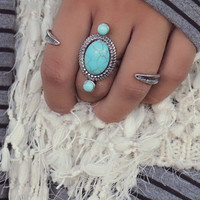 Afternoon Glimmer Multi Finger Turquoise Ring in Antique Gold & Silver
