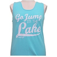 Girlie Girl Originals Jump In The Lake Bright Lagoon Blue Tank Top
