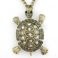 Gold-Toned Antique Turtle Necklace with Jewel Accents   christinepurr - Jewelry on ArtFire