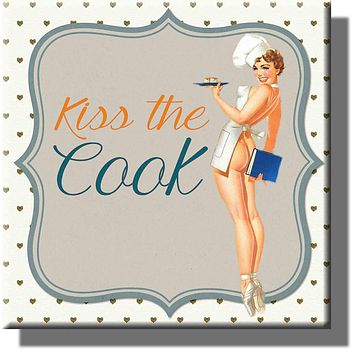 Kiss the Cook Vintage Picture on Stretched Canvas, Wall Art Décor, Ready to Hang!