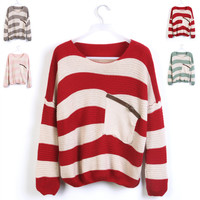 Red Striped Bat Long Sleeve Loose Sweater