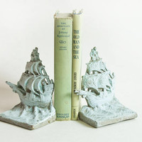 Vintage Chalk Painted Bookends, Pastel Blue Solid Brass Sailboat Bookends, Sailing Ship Book Ends, Cottage Chic