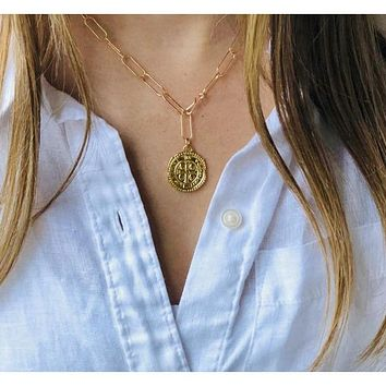 Abara Gold Coin Paperclip Chain Link Necklace