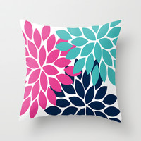 Bold Colorful Hot Pink Turquoise Navy Dahlia Flower Burst Petals Throw Pillow by TRM Design