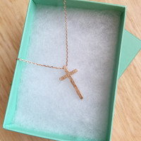 SALE - Rose Gold Cross Necklace, Women's Necklace, Cross Necklace, Dainty Necklace, Bridesmaid Gift, Birthday Gift, Mother's Day Gift