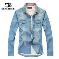 Spring Autumn Vintage Denim Long Sleeve Shirt Men Blouse Mens Fashion Light Blue Jeans Blouse Shirt With