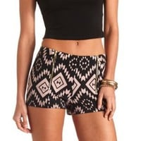 Zip-Up Tribal Print High-Waisted Shorts - Black Combo