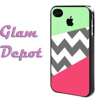 Lime Green and Pink Geometric Block with Grey Gray Chevron iPhone 4 4s Case by GD