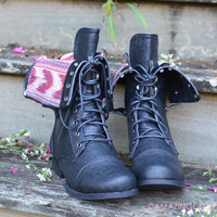 Southern Pines Black Tribal Fold Over Combat Boots
