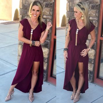 Making a Point Maxi Romper: Burgundy