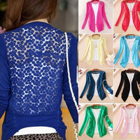 New Womens Sweet Lace Candy Crochet Knit Blouse Top Coat Cardigan Shirt Sweater = 1958186756