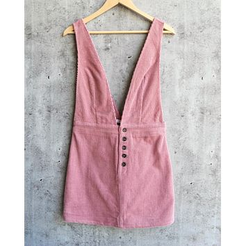 Final Sale - Honey Belle - Overall Corduroy Dress in Pink