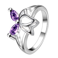 Duo-Purple Citrine Butterfly Wings Petite Ring Size 8