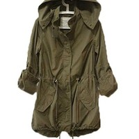 Women¡¯s Army Green Military Windbreaker Trench Coat Jacket