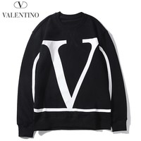 Valentino hot fashion couple's large-logo printed hoodies with round necks and long sleeves Black