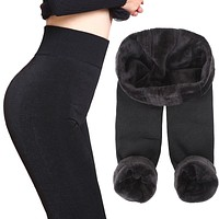 Thick Fleece Leggings Women leggins Winter Warm Work Out Legging Womens Legins Elastic Push Up Pants Skinny Pants for Women