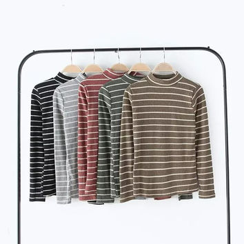 Stripe Long-Sleeve High-Neck Sweater