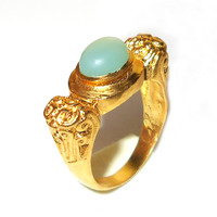 Aqua Chalcedony Ring - Gold Plated Ring - Gemstone Ring - Bezel Set Ring - Designer Ring - Engagement Ring - Daily Wear Ring - Ring Jewelry