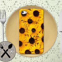 Sunflower Collage Flower Bunch Yellow Cute Summer Custom Rubber Tough Phone Case For The iPhone 4 and 4s and iPhone 5 and 5s and 5c
