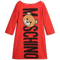 Moschino Girls Red Teddy Logo Dress