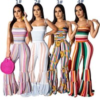 Womens jumpsuits flared pants flared jumpsuits rompers sexy bra stripe rompers hot sale womens jumpsuits slim fashion jumpsuit klw1156