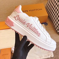 LV Louis Vuitton embroidered letter platform casual sneakers shoes