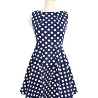 High-Waisted Polka Dot Print Round Collar Mini Skater Dress