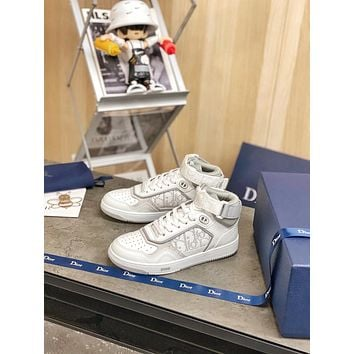 Dior Men's And Women's Leather B27 High Top Sneakers Shoes