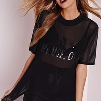 Missguided - I'm A Mouse Duh Printed Mesh T Shirt Black
