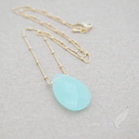 """Simple Ball Chain with Frosted Aquamarine Cubic Zirconia 1"""" Drop, 18.5"""" Necklace"""