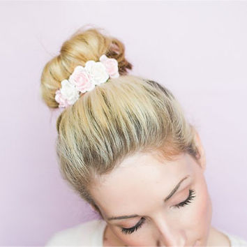 Belle Rose in Cream and Pink, Flower Crown, Bun Crown, Womens Accessories, Vintage Style, Shabby chic, Wedding Accessories