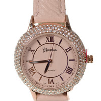 Geneva 4 Row CZ Roman Numeral Leather Watch - Blush Pink/Rose Gold