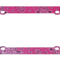 Fun Classic Floral Hot Pink Graphic License Plate Frame