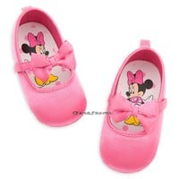 Licensed cool Minnie Mouse Solid Pink with Bow COSTUME BABY SHOES 6-12 12-18 Disney Store NEW