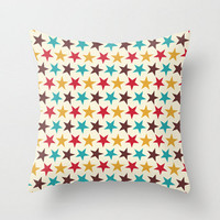 Stars Circus Pillow Cover Blue Teal Red Gold Retro Design Pillow Case 16x16 18x18 20x20 Kids Children Room Baby Nursery Apartment Decor