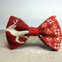 Bow Tie by BartekDesign: pre tied red christmas deer ornaments xmass joy december print beige gift for her him fun